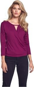 Fioletowa bluzka Figl w stylu casual z dekoltem w kształcie litery v