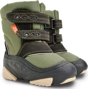 Zielone buty dziecięce zimowe Demar na rzepy