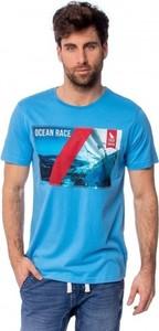 Niebieski t-shirt Heavy Tools w młodzieżowym stylu z krótkim rękawem