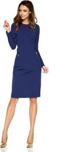 Niebieska sukienka TAGLESS midi z okrągłym dekoltem