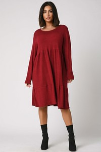 Sukienka Plus Size Fashion z długim rękawem midi w stylu casual