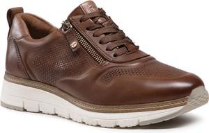 Brązowe buty sportowe Tamaris sznurowane