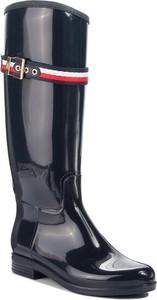 Kalosze Tommy Hilfiger ze skóry ekologicznej wysokie w stylu casual