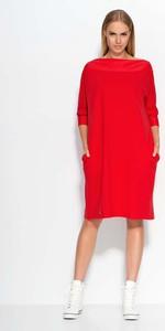 1aefbde843 Czerwona sukienka Makadamia z okrągłym dekoltem z długim rękawem mini