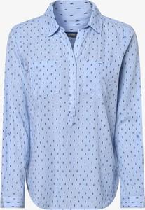 Niebieska bluzka STREET ONE z długim rękawem z kołnierzykiem w stylu casual