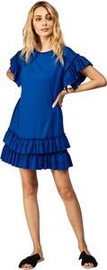 Niebieska sukienka fADD mini z krótkim rękawem z dzianiny