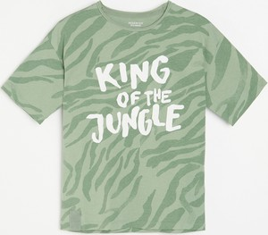 Turkusowa koszulka dziecięca Reserved z krótkim rękawem z bawełny