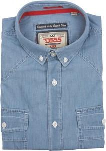 Niebieska koszula D555 z jeansu z krótkim rękawem w street stylu