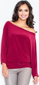Czerwona bluzka Figl w stylu casual hiszpanka z długim rękawem