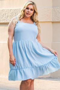 Niebieska sukienka KARKO bez rękawów mini z bawełny