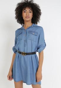 Niebieska sukienka born2be koszulowa z kołnierzykiem z długim rękawem