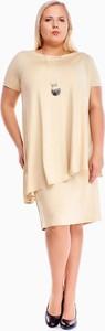 Sukienka Fokus oversize z okrągłym dekoltem midi