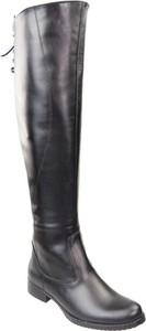 Czarne kozaki Jankobut przed kolano w stylu casual ze skóry