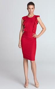 Czerwona sukienka Merg z okrągłym dekoltem midi