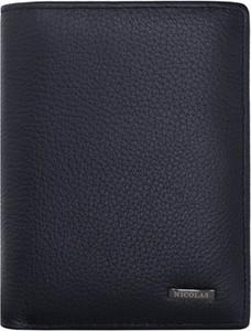Niebieski portfel męski Nicolas ze skóry na bilon
