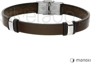 Silverado skórzana bransoletka męska w kolorze ciemnego brązu ze stalowymi elementami 77-ba369k
