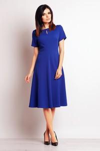 Niebieska sukienka Infinite You z krótkim rękawem z okrągłym dekoltem trapezowa