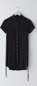 Czarna sukienka Sinsay z kołnierzykiem mini koszulowa