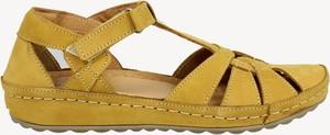 Żółte sandały Kampa ze skóry z klamrami