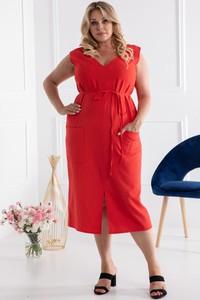 Czerwona sukienka KARKO z lnu