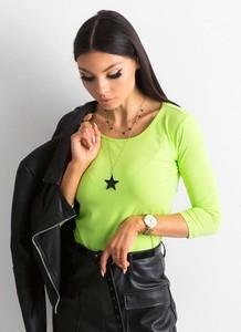 Zielona bluzka Sheandher.pl z okrągłym dekoltem w stylu casual z bawełny