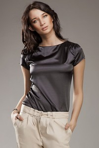 Bluzka NIFE z krótkim rękawem z satyny w stylu casual