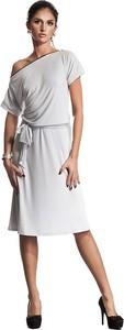 Sukienka Nife z krótkim rękawem z okrągłym dekoltem midi
