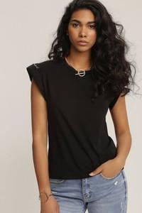 Czarna bluzka Renee z okrągłym dekoltem z krótkim rękawem