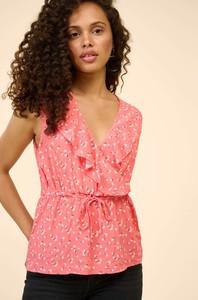 Różowa bluzka ORSAY z tkaniny z dekoltem w kształcie litery v