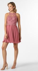 Różowa sukienka Laona z okrągłym dekoltem