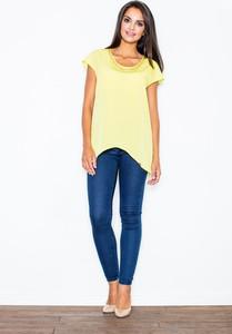 Żółta bluzka Figl z krótkim rękawem