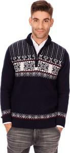 Granatowy sweter Lanieri Fashion ze stójką