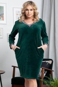 Zielona sukienka KARKO w stylu casual z dekoltem w kształcie litery v
