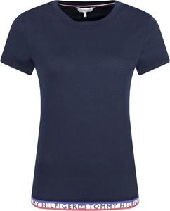 Niebieski t-shirt Tommy Hilfiger z okrągłym dekoltem z krótkim rękawem