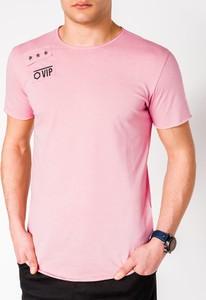 Różowy t-shirt Edoti z nadrukiem