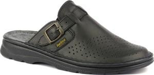 Czarne buty letnie męskie Helios ze skóry