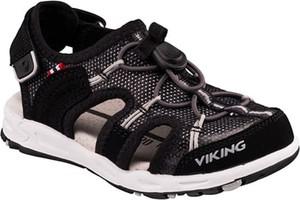 Czarne buty dziecięce letnie Viking ze skóry na rzepy
