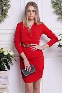 Czerwona sukienka Ella Boutique z długim rękawem