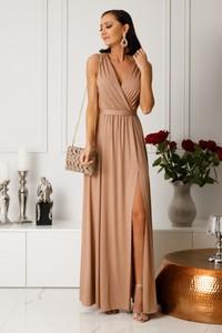Sukienka Ella Boutique z tkaniny z dekoltem w kształcie litery v maxi