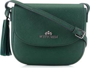 Zielona torebka Wittchen w stylu casual z frędzlami na ramię