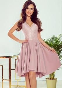 Różowa sukienka Merg z dekoltem w kształcie litery v