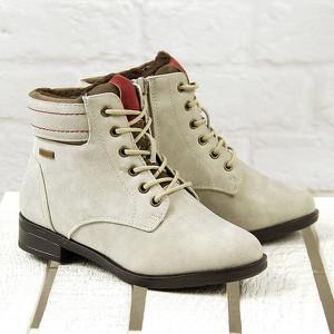 Beżowe buty dziecięce zimowe jezzi dla dziewczynek bez wzorów