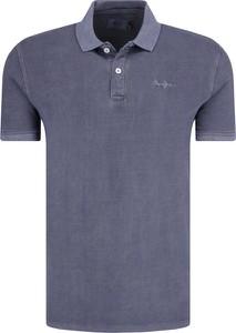 Niebieski t-shirt Pepe Jeans w stylu casual z krótkim rękawem