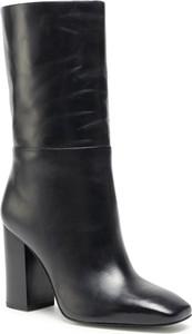 Czarne kozaki Calvin Klein przed kolano na zamek na obcasie