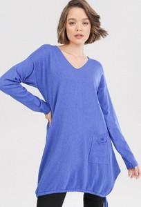 Niebieska sukienka born2be mini z długim rękawem z dekoltem w kształcie litery v