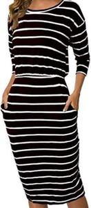 Sukienka Cikelly z długim rękawem z okrągłym dekoltem ołówkowa