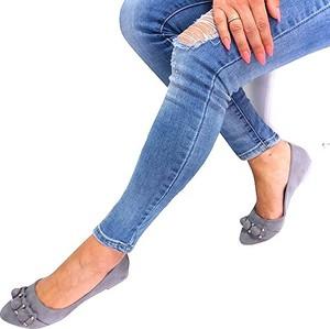 Baleriny Ideal Shoes z płaską podeszwą w stylu casual ze skóry