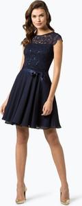 Granatowa sukienka Swing mini w stylu glamour rozkloszowana