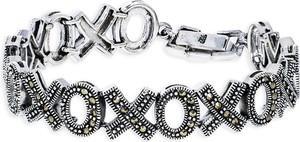 Monarti Elegancka srebrna bransoletka z szwajcarskimi markazytami