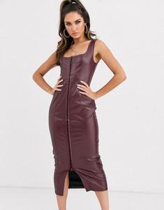 Fioletowa sukienka Missguided ze skóry midi dopasowana